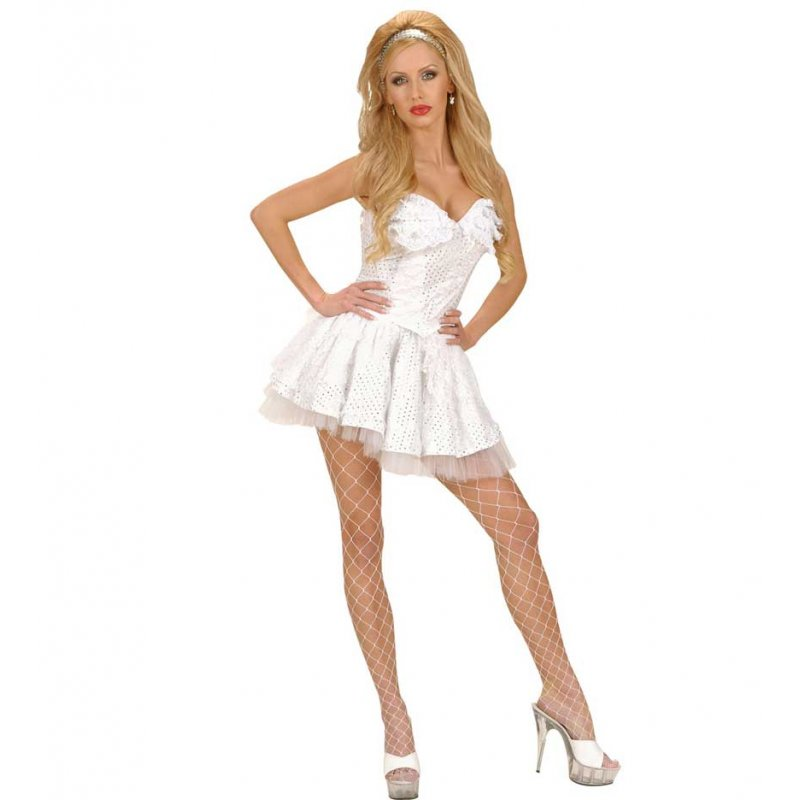 b2037ecb964 Αποκριάτικο Λευκό Φόρεμα Κορσές με Δαντέλα και Πούλιες
