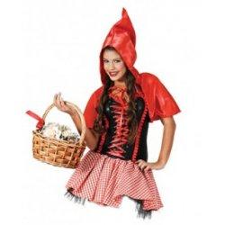 Αποκριάτικη Στολή Κοκκινοσκουφίτσα Κορίτσι με Καρό Φούστα