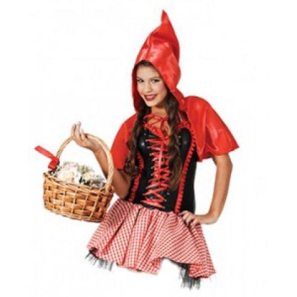 Αποκριάτικη Στολή Κοκκινοσκουφίτσα Καρό Φούστα