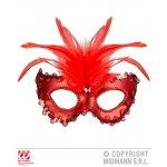 Αποκριάτικη Μεταλλική Κόκκινη Μάσκα Ματιών με Φτερά και Πετράδια