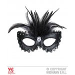 Αποκριάτικη Μαύρη Μάσκα Ματιών με Φτερά και Πετράδια