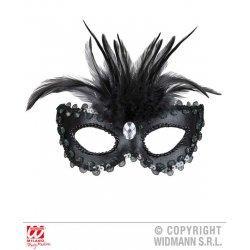 Αποκριάτικο Αξεσουάρ Μαύρη Μάσκα ματιών με Φτερά και Πετράδια