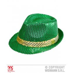 Αποκριάτικο Αξεσουάρ Καπέλο Φεντόρα πράσινο με Πούλιες