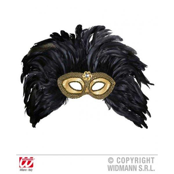 Αποκριάτικο Αξεσουάρ Χρυσή Μάσκα Ματιών με Πετράδι και Φτερά