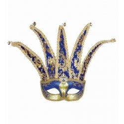 Αποκριάτικη Μάσκα Ματιών Αρλεκίνου Μπλε με Χρυσό