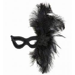 Αποκριάτικη Μάσκα Ματιών Μαύρη με Λουλούδι και Φτερά