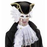 Αποκριάτικη Μάσκα Ματιών Λευκή με Χρυσά Σχέδια, Φτερά και Λαβή