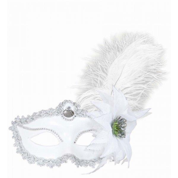 Αποκριάτικη Μάσκα Ματιών Λευκή με Λουλούδι και Φτερό