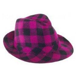 Αποκριάτικο Αξεσουάρ Καπέλο Καβουράκι Καρό, Μωβ
