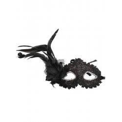 Αποκριάτικη Μαύρη Μάσκα Ματιών με Λουλούδι και Φτερό