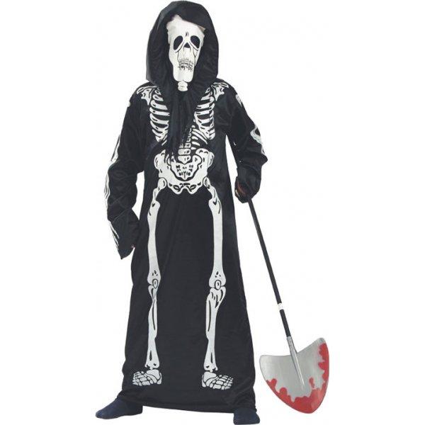Αποκριάτικη Στολή Σκελετός Αγόρι Μαύρο με Λευκό Τύπωμα