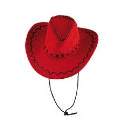 Αποκριάτικο Αξεσουάρ Καπέλο Καου μποι Suede Κόκκινο
