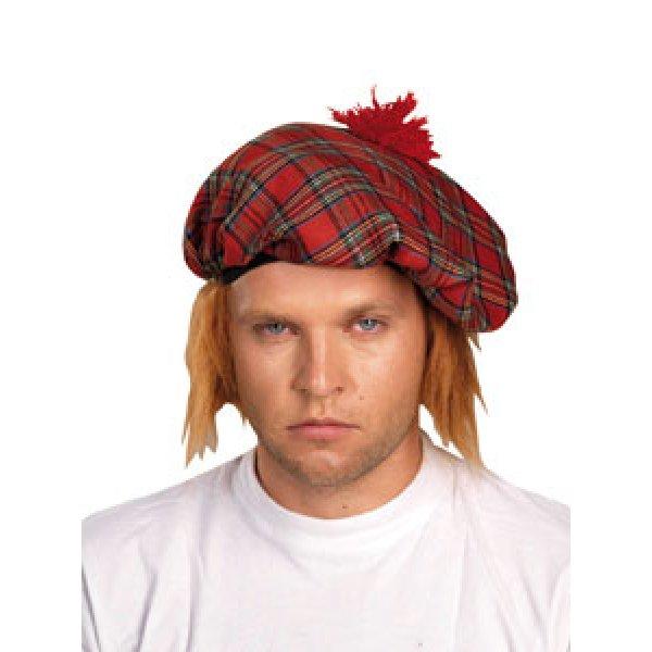 Αποκριάτικο Αξεσουάρ Καπέλο Σκωτσέζου Καρό, με Κίτρινα Μαλλιά
