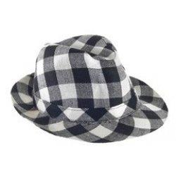 Αποκριάτικο Αξεσουάρ Καπέλο Καβουράκι Καρό, Λευκό