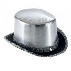 Αποκριάτικο Αξεσουάρ Καπέλο Ημίψηλο Σατέν, Ασημί