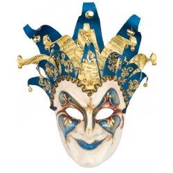 Αποκριάτικη Μάσκα Βεν Paper Mache Αρλεκίνος (Μπλε)