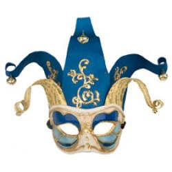 Αποκριάτικη Μάσκα Βεν Paper Mache Αρλεκίνος Half Face (Μπλε)