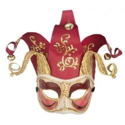 Αποκριάτικη Μάσκα Βεν Paper Mache Αρλεκίνος Half Face (Κόκκινο)