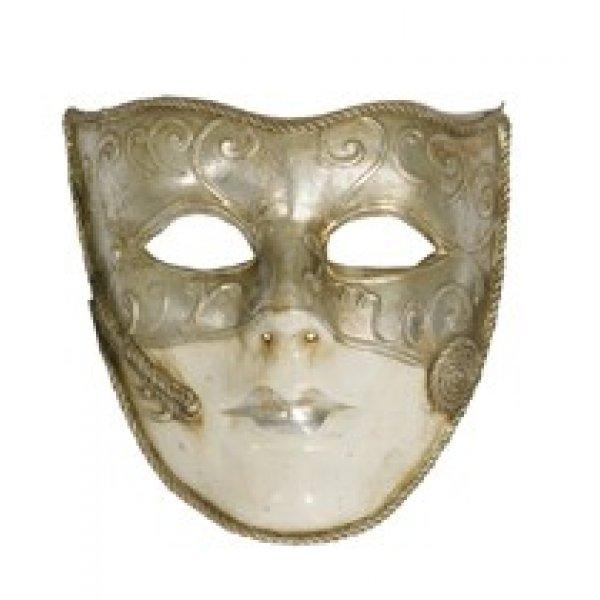 Αποκριάτικη Μάσκα Ben Paper Mache (Ασημί)