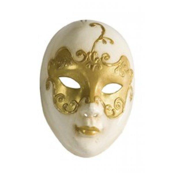 Αποκριάτικη Μάσκα Βen Paper Mache (Χρυσό - Λευκό)