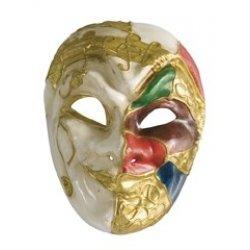 Αποκριάτικη Μάσκα Βen Paper Mache Αρλεκίνος, Χρυσό-Λευκό