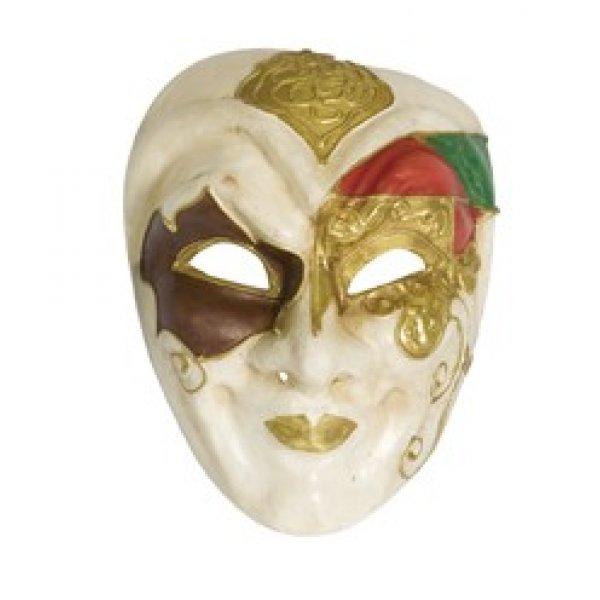 Αποκριάτικη Μάσκα Βen Paper Mache Αρλεκίνος, Χρυσό-Λευκό-Πράσινο