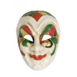 Αποκριάτικη Μάσκα Βen Paper Mache Αρλεκίνος, Χρυσό-Πράσινο-Κόκκινο