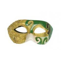 Αποκριάτικη Μάσκα Βen Paper Mache Small (Χρυσό-Πράσινο)