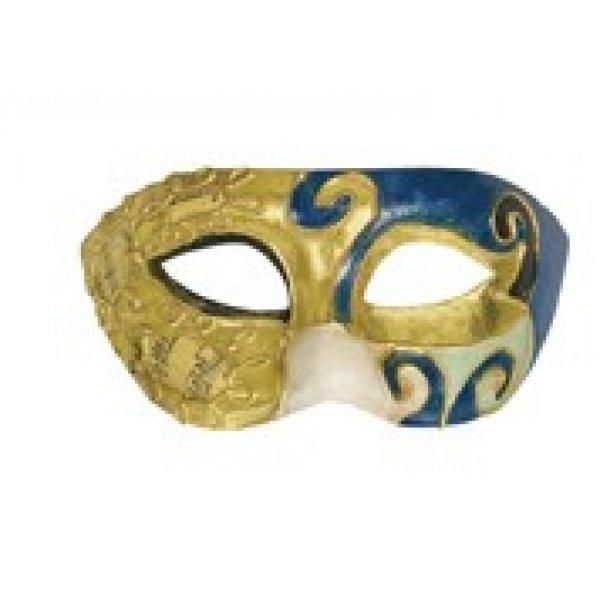 Αποκριάτικη Μάσκα Βen Paper Mache Small (Χρυσό-Μπλε)