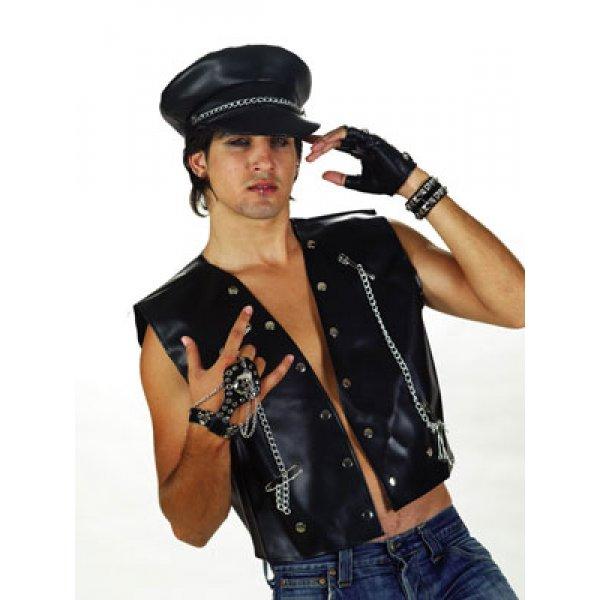 Αποκριάτικο Αξεσουάρ Καπέλο Πανκ Βινυλ Με Αλυσίδα