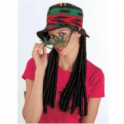 Αποκριάτικο Αξεσουάρ Καπέλο Ράστα με Περούκα