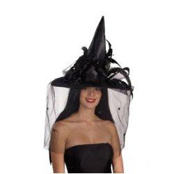 Αποκριάτικο Αξεσουάρ Γυναικείο Καπέλο Μάγισσας (Μαύρο)