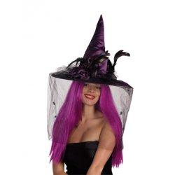 Αποκριάτικο Αξεσουάρ Γυναικείο Καπέλο Μάγισσας (Μωβ)