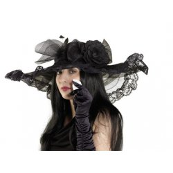 Αποκριάτικο Αξεσουάρ Καπέλο Χήρας Deluxe