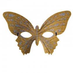 Αποκριάτικη Μάσκα Ματιών Πεταλούδα με Γκλιτερ - Χρυσή