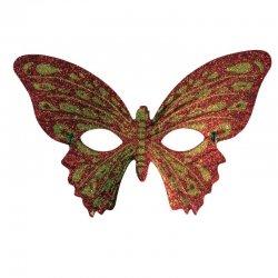 Αποκριάτικη Μάσκα Ματιών Πεταλούδα με Γκλιτερ - Κόκκινη