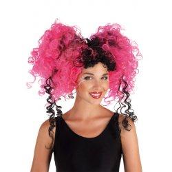 Αποκριάτικη Περούκα Σγουρή Κοτσίδια Ροζ