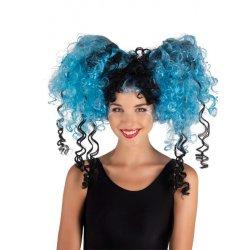 Αποκριάτικη Περούκα Σγουρή Κοτσίδια Μπλε