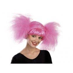 Αποκριάτικη Περούκα Κοτσίδα Άφρο Ροζ