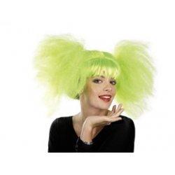 Αποκριάτικη Περούκα Κοτσίδα Άφρο Πράσινη