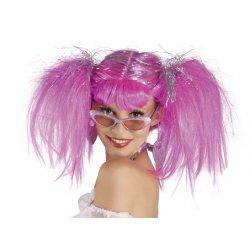 Αποκριάτικη Περούκα Κοτσίδα Ροζ