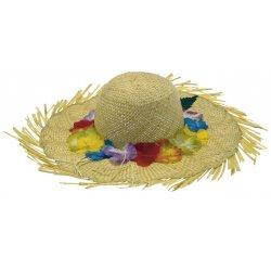 Αποκριάτικο Αξεσουάρ Καπέλο Ψάθινο με Λουλούδια