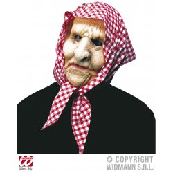 Αποκριάτικη Μάσκα Λατέξ Γιαγιάς με Μαντήλα (2 Χρώματα)