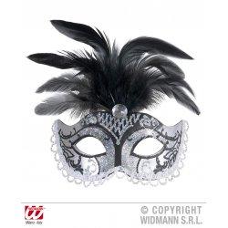 Αποκριάτικη Μάσκα Ματιών με Ασημί Glitter και Φτερά