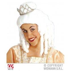 Αποκριάτικη Περούκα Βασίλισσας Λευκή με Τιάρα
