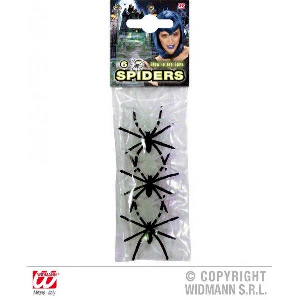 Αποκριάτικο Διακοσμητικό Τρόμου 6 Αράχνες που Φωσφορίζουν