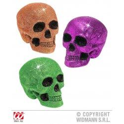 Αποκριάτικο Διακοσμητικό Τρόμου, Νεκροκεφαλή με Glitter - 3 Χρώματα (15 εκ.)