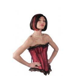Αποκριάτικη Περούκα Βαλέρια με Αντάυγειες, Μαύρο-Κόκκινο