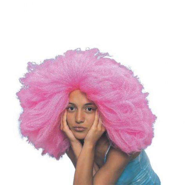 Αποκριάτικη Περούκα Άφρο, Ροζ
