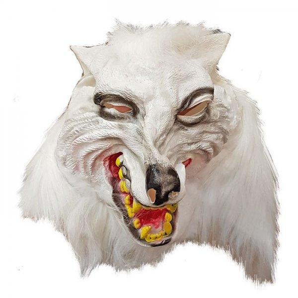 Αποκριάτικη Μάσκα Latex Λύκος Λευκός με Μαλλιά